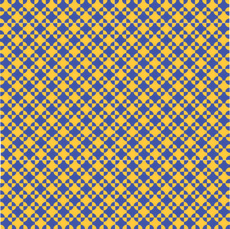 alternating: vector pattern of orange and blue geometric shapes like square and circle, alternating light and dark