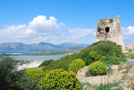 Background of spanish ancient toer of Porto Giunco in Villasimius (Sardinia)_landscape Zdjęcie Seryjne