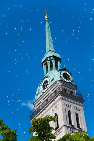 steeple: steeple church with balloons in the sky summertime