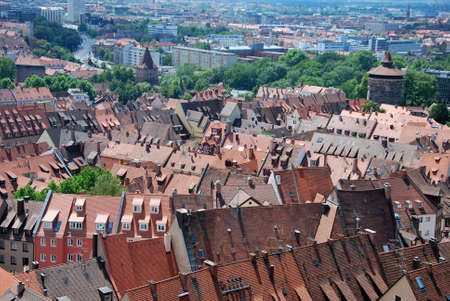 bayern old town: Nuremberg roofs daily in Germany