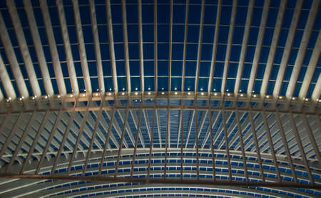 liege: Detail of the ceiling of the train station in Liege, Belgium, in the night. Santiago Calatrava architect Stock Photo