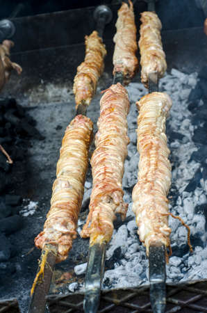 entrails: Typical Sardinian food. Entrails of animals roast cooking in the bbq in a typical sardinian community festival. Aritzo_Autunno in Barbagia