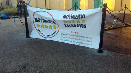 reportage: Selargius, Italy - 09 June 2017: Political flag with logo of the italian party called Movimento 5 Stelle as editorial Editorial