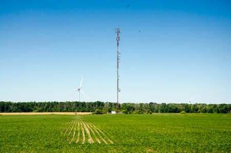 Tall antenna and wind Turbine in a green level field and deep blue sky and two birds