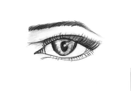 snappy: Hand crayon drawing  sketch of female eye mixed with a generic eye of a Falcon. Detail in isolation in black and white