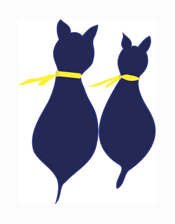 Two dark blue cats as silhouette seen from the back wearing yellow scarf. Vector
