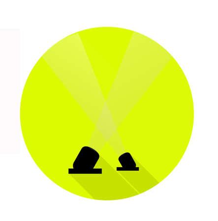 2 つのスポット ライト アイコン ボタンのライム グリーン サークル フラット スタイル。星と祭の単純な記号です。1 つをベクトルします。