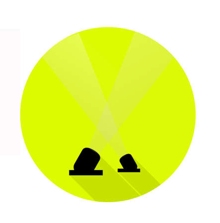 Two spotlights icon in flat style on a lime-green circle for button. Simple symbol for stars and festival. Vector One Çizim