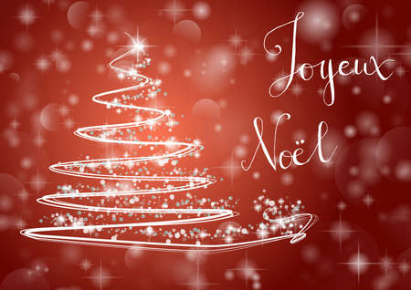 Abstract Christmas tree on shiny red background with the writing Merry Chistmas in french Joyeux Noel. Vector