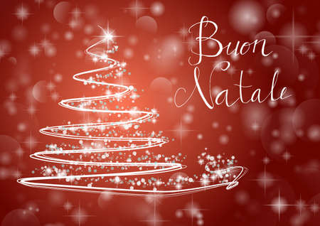Abstract Christmas tree on shiny red background with the writing Merry Chistmas in Italian Buon Natale. Vector