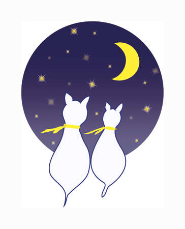 Two cats as silhouette seen from the back plus yellow scarf. A blue dark circle background with moon and some stars.  Vector One Ilustracja