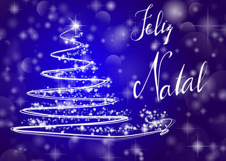 Abstract Christmas tree on shiny blue background with the writing Merry Chistmas in portuguese Feliz Natal. Vector