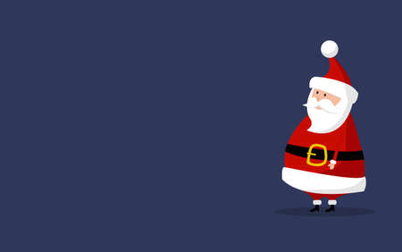 Basic Santa Claus Vector with copyspace on the right. Classic Santa In Red Suit. Good For Flyer, Card, Poster, Decoration, Advertising Design. Flat Cute Cartoon Illustration