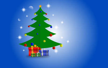 Christmas tree and gifts with blue shiny background. Vector illustration Ilustracja