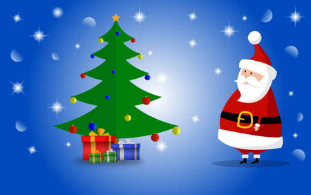 Santa Claus and Christmas tree and gifts with blue shiny background for wishes. Vector illustration Ilustracja