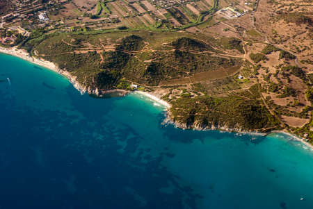 Aereal view of nature and sea in Calamosca Hill in Cagliari, Sardegna, Italy