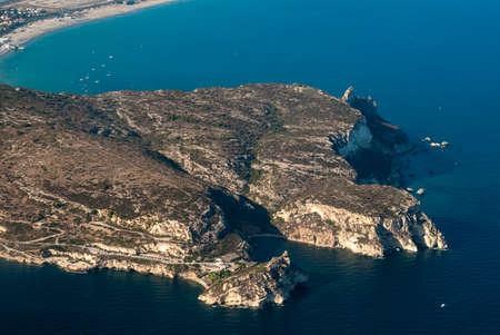 Promontory of Calamosca in Cagliari, Sardinia, Italy from the airplane. Top view Zdjęcie Seryjne
