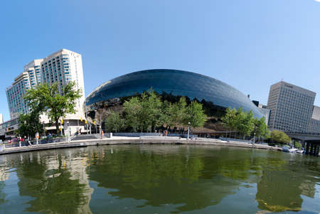 Ottawa, Ontario, Canada - 22 July 2017: Ottawa Convention Centre seen from Rideu Canal as editorial
