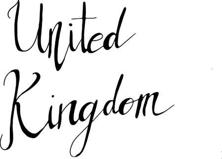 A hand-written word 'UNITED KINGDOM' in vector format isolated on white background