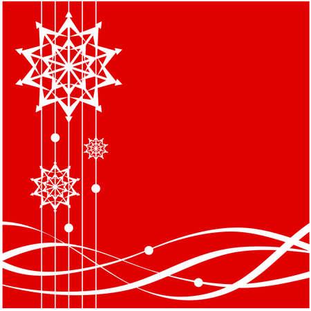 ribbons: Christmas card with snowflakes and ribbons