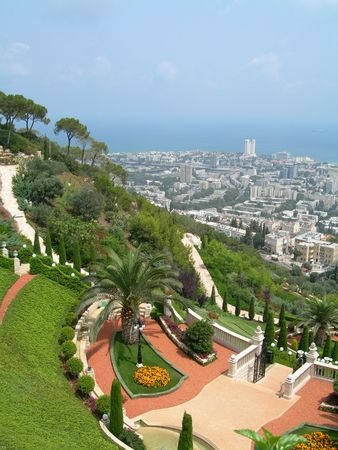 bahai: Bahai Garden Terrace, Haifa, Israel           Stock Photo