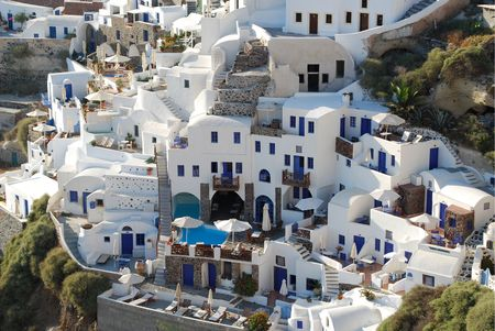 Typical buildings in Santorini Island, Greece photo