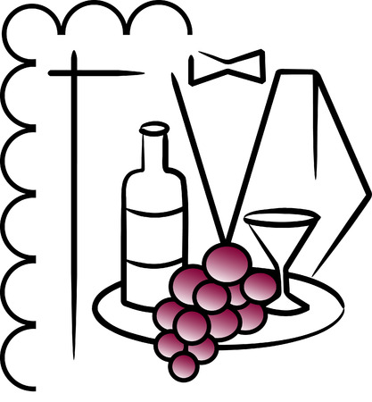 Vector illustration of waiter with wine and grape