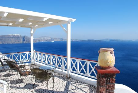 Beautiful white patio over the sea, Oia Village, Greece
