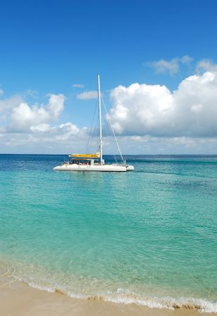 catamaran: White catamaran boat in the Caribbean Sea