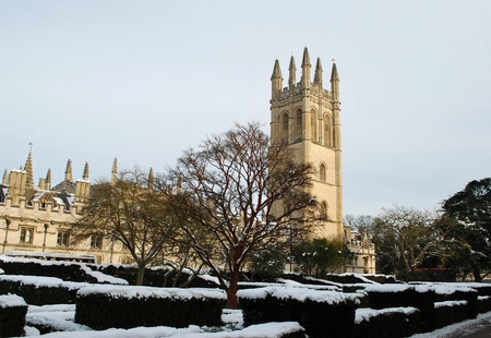 Oxford University buildings in snow, Oxford, England