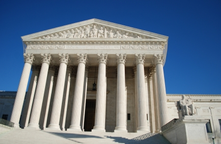 supreme court: Entrance of the United States Supreme Court, Washington DC, USA