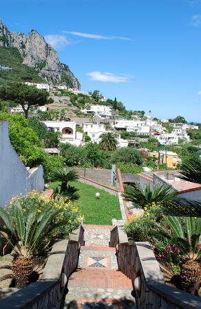 Capri Landscape, stairs and buildings on the cliff, Italy