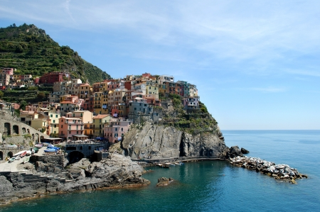 Manarola is a small village with colorful houses, Italy