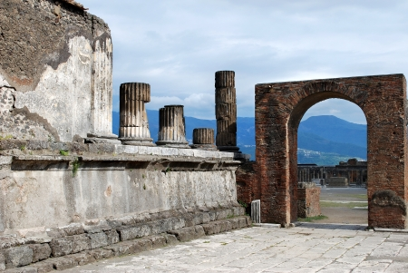 Pompeii arch, the town was destroyed during the eruption of Vesuvius volcano in 79 AD Stock Photo