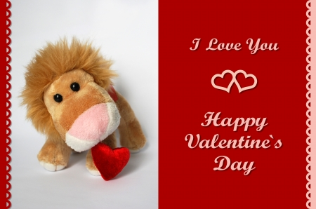 Valentine�s Card with plush lion toy photo