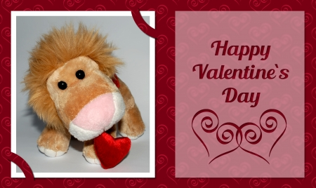 Valentine�s Card with plush lion toy