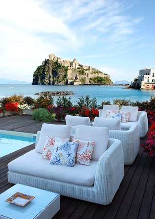 Patio at Ischia Island with castle and sea view, Italy
