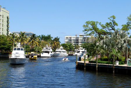 Boats on the canal of Fort Lauderdale, Florida, USA  Stock Photo