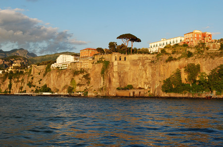 Panorama of Sorrento cost at sunset, Italy
