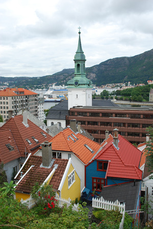 Bergen Architecture - colorful houses and church in Bergen, Norway Stock Photo