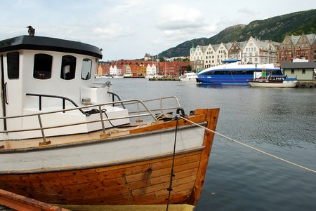 Boat in Bergen harbor, Norway, Scandinavia
