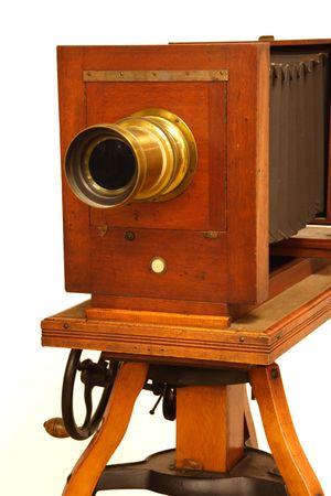 Beautiful antique wood and brass camera. Stock Photo