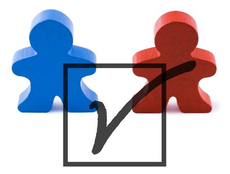 rightwing: Red and blue people representing democratic and republican parties.  Includes clipping path.
