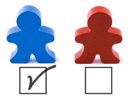 Red and blue people representing democratic and republican parties.  Includes clipping path.