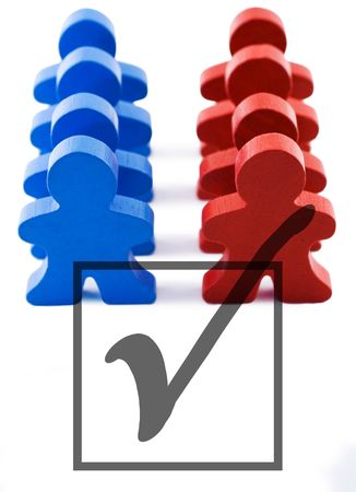 Red and blue people representing democratic and republican parties.  Includes clipping path. Stock Photo - 376552