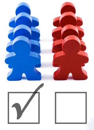 republican: El rojo y el azul en representaci�n de las personas democr�ticas y los partidos republicanos. Incluye recorte camino.