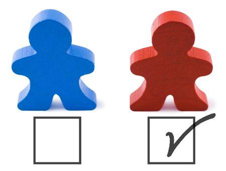 republican: El rojo y el azul de las personas que representan a los partidos republicano y democr�tico. Incluye saturaci�n camino.  Foto de archivo