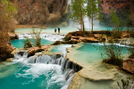 Hiking at beautiful Havasu Falls in Arizona. Stock Photo - 376546