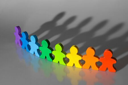 everybody: Business concepts illustrated with colorful wooden people - diversity and teamwork. Stock Photo
