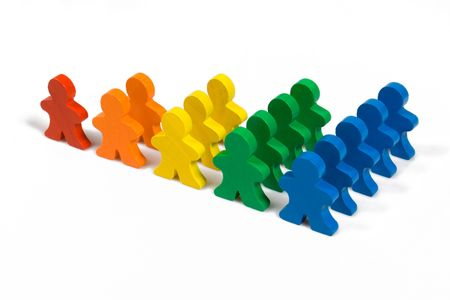Business concepts illustrated with colorful wooden people - growth in business.